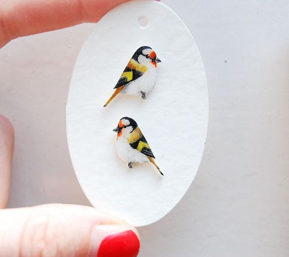 Bird earrings  Goldfinch Earrings  Hand drawn  by kirstinstride, £22.00