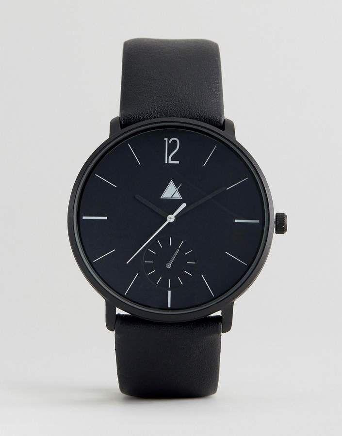 ASOS Monochrome Watch With <b>Black</b> Faux Leather Strap   Men's ...