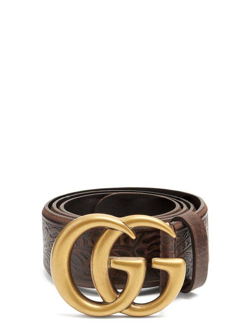 ac17291a8da GUCCI GG Vintage 4cm leather belt.  gucci   Brown Leather Belt