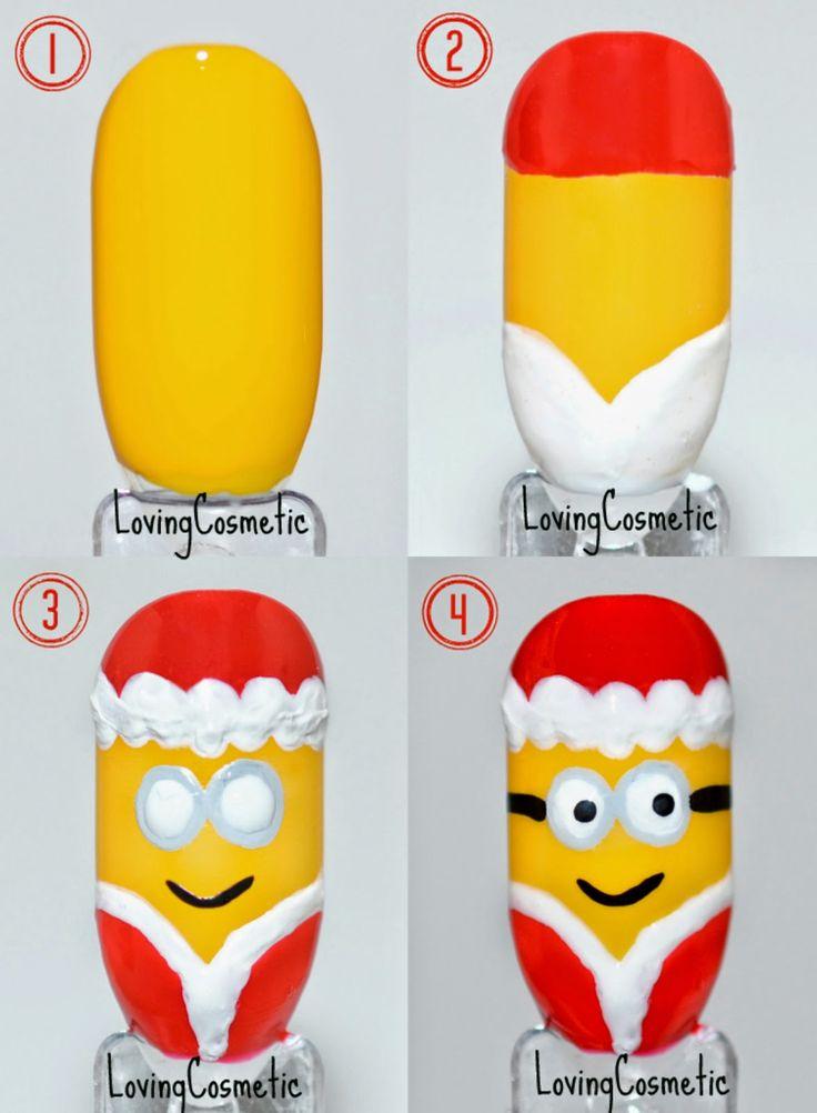 LovingCosmetic: Nail Art Minion Christmas + Tutorial ... Despicable Me