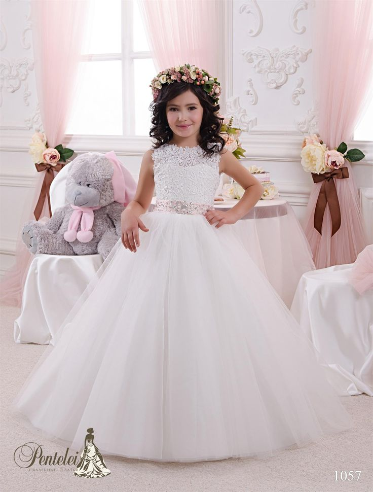 Unique  Flower Girls Dresses for Weddings Jewel Neck Ball Gown Tulle and Lace First Communion Dresses with Beads Bow Sash