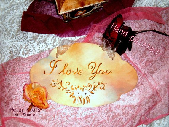 Rustic Wood Wedding Sign-Hand painted - I love you