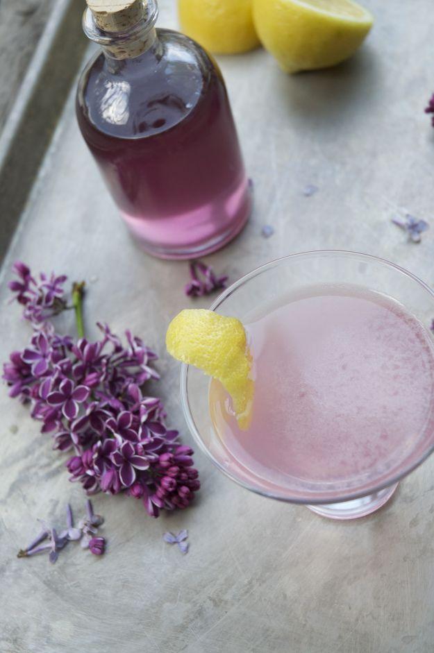 The Lilac Haze  2 ounces Botanist gin 3/4 ounces lilac simple syrup 1/2 ounce lemon juice 1/2 ounce Poli Miele Honey Grappa liqueur