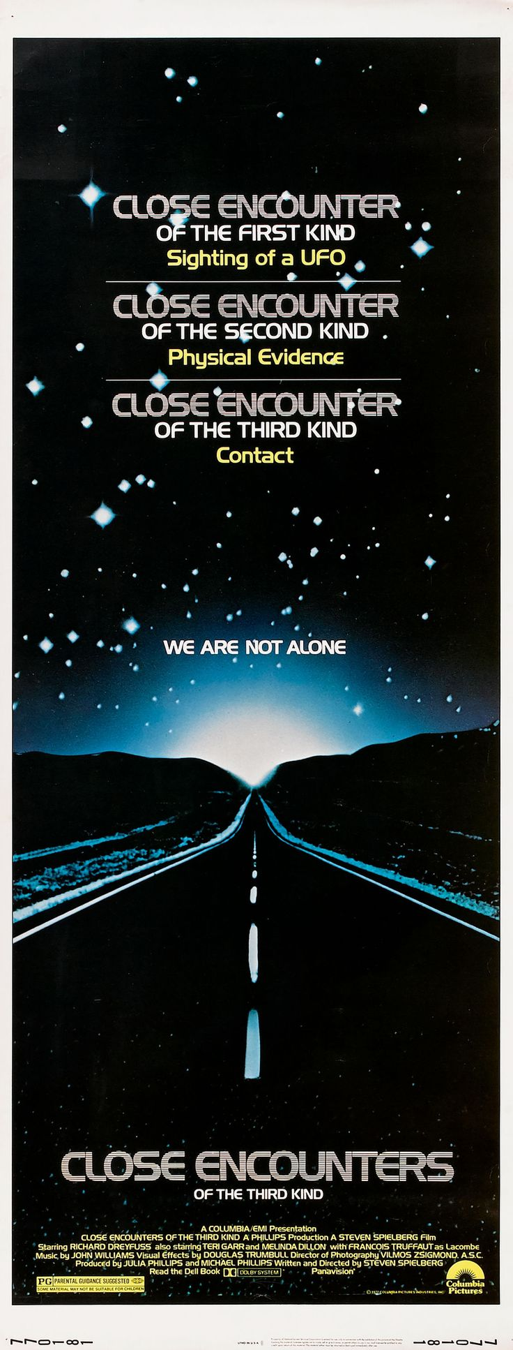"""Close Encounters of the Third Kind"" (1977). Country: United States. Director: Steven Spielberg. Cast: Richard Dreyfuss, Teri Garr, Melinda Dillon, François Truffaut"