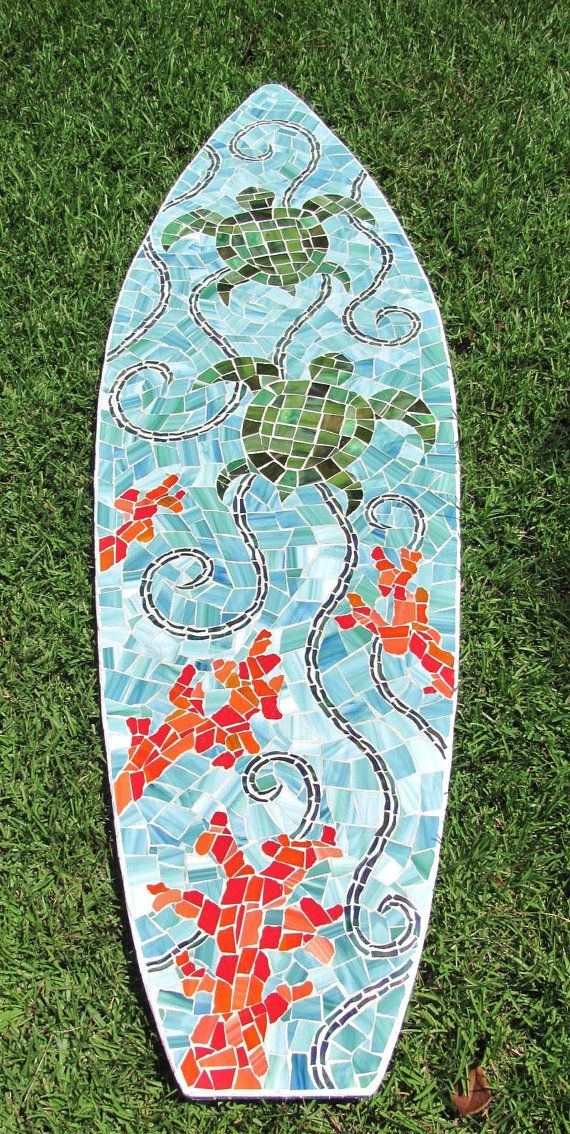 Stained Glass Mosaic Surfboard 5ft  Wall Art on Wood Base - Sea Turtles, Ocean and Coral. $425.00, via Etsy.