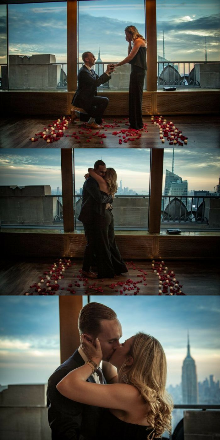 Loving this romantic NYC proposal in The Rainbow Room. He even included their parents!