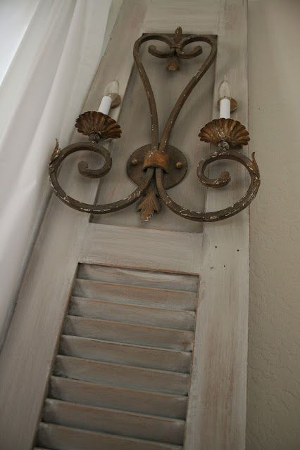 Reloved Rubbish: Wall Sconces On Old Shutter Doors