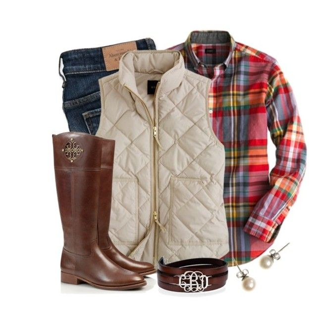 Plaid & Preppy by qtpiekelso on Polyvore featuring polyvore, fashion, style, J.Crew, Abercrombie & Fitch and Tory Burch