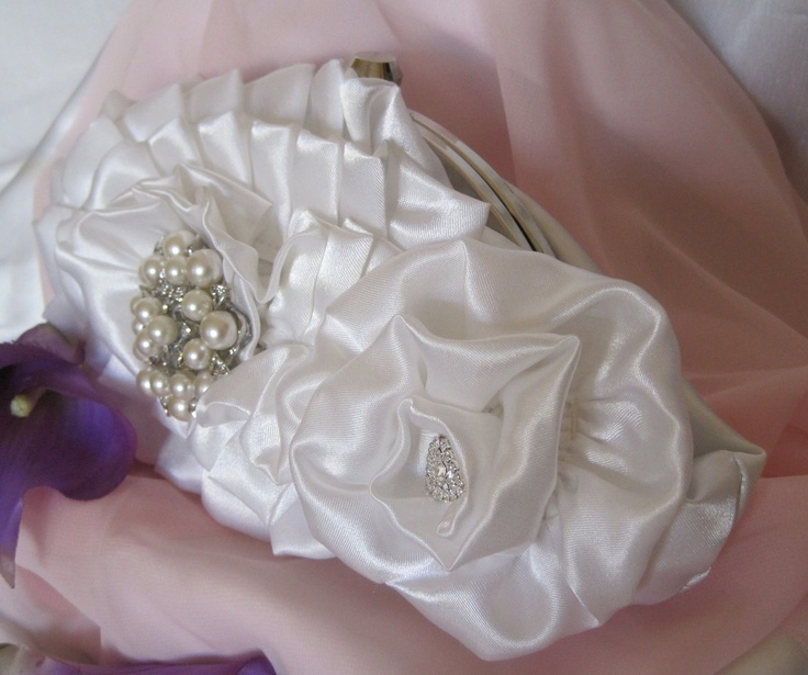 Bridal White Satin Frame Floral Clutch with Gorgeous Pearl and Rhinestone Accents....Bride, Mother of the Bride, Bridesmaid, Prom. $68.00, via Etsy.