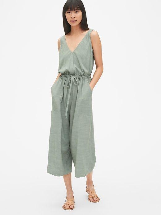 028e72fd543 Gap Women s Sleeveless Wide-Leg Jumpsuit Sage Green