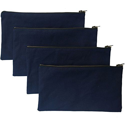 Heavy Duty 16 oz. Canvas Tool Bags with Metal Zippers, Smart Storage Pouches Utility Tool Organizer Pack of 4, Best for Handymen Repairmen Woodworkers(HGJ02-US) (Navy, Pack of 4)  SMART ORGANIZATION: Now you can organize, sort and store your little tools/gadgets with this 4 brilliant tool bags . Give bags to different workers or mechanics on the job site or tidy up different areas of your home.  ONE-PIECE CONSTRUCTION: You don't need to worry about lots of extra seams breaking down the...