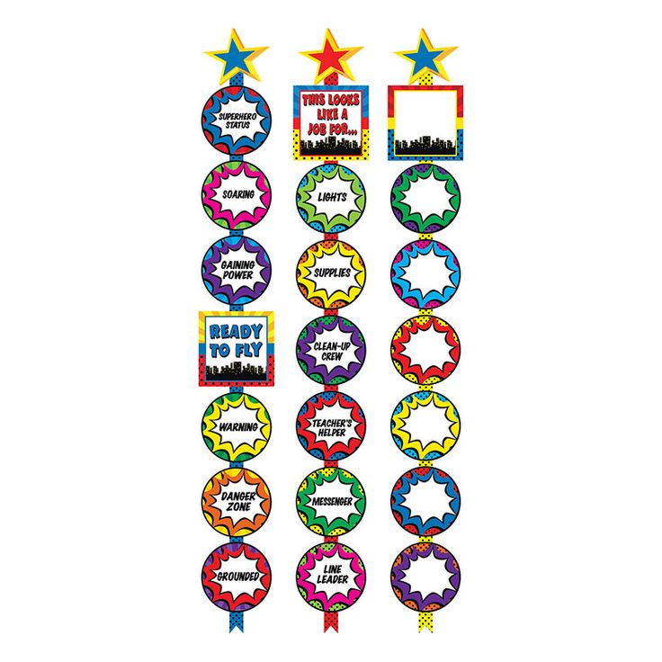 "Ready Reminders are versatile, vertical ""charts"" that add flair and style to any classroom. Eye-catching graphics on adorable circles hang from a Ribbon Runner topped with a decorative star. These spa"