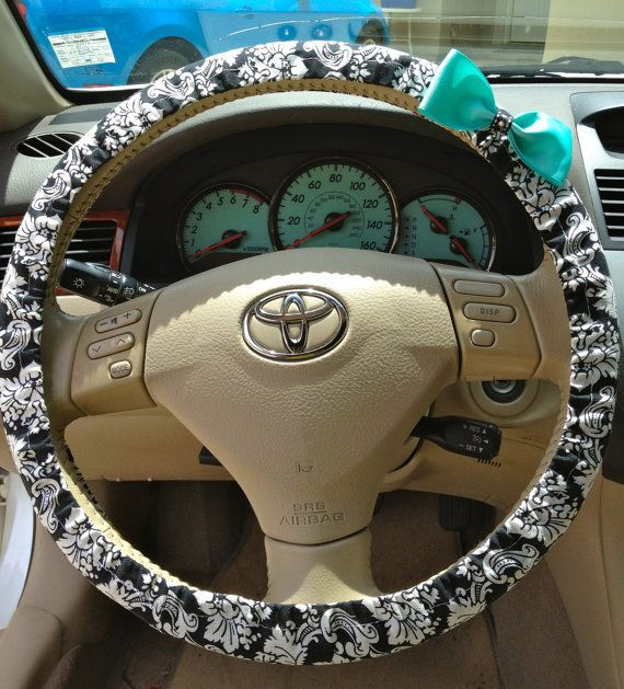 Steering Wheel Cover Black White Damask Fabric W Aqua Blue Bow Teen