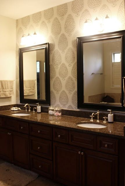 Stenciling just one wall behind vanity--smart!  (via 6th Street Design School: Feature Friday: Gus and Lula)