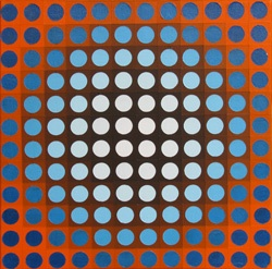"""Blue on Orange Chrome :   This painting is the first of the chrome set. I had a lot of fun playing with the contrast and I am considering making a similar painting on a much larger scale.    Medium: Acrylic on Canvas  Size: 12"""" x 12"""""""
