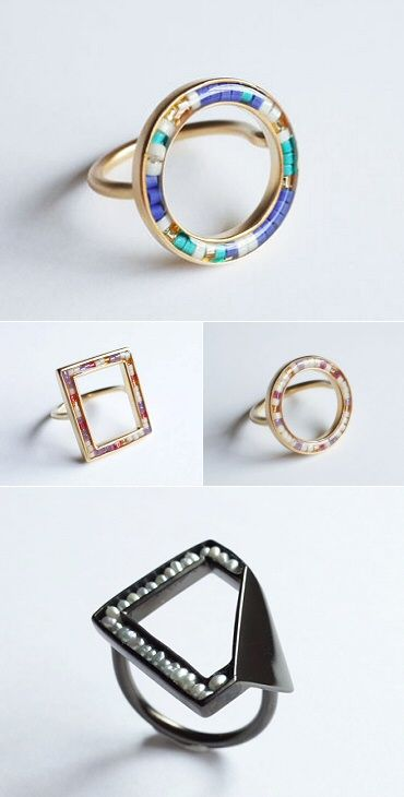 Japan's Yumiko Yoneda brings a sense of calm and order to rings made of beads and resin.
