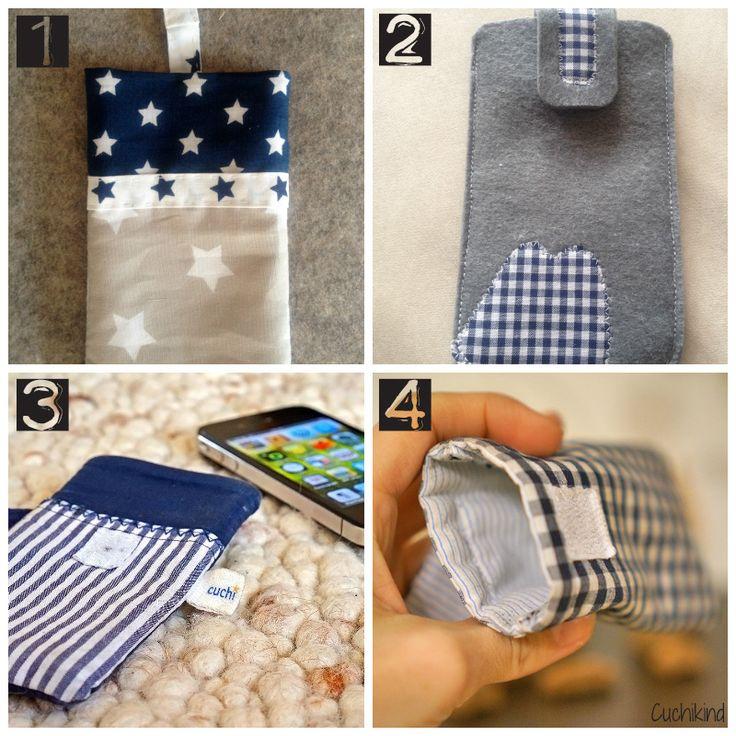 Meine ersten selbstgenähten Handyhüllen. Auf meinem Blog findet ihr eine Anleitung für eine Handyhülle aus Männerhemden.