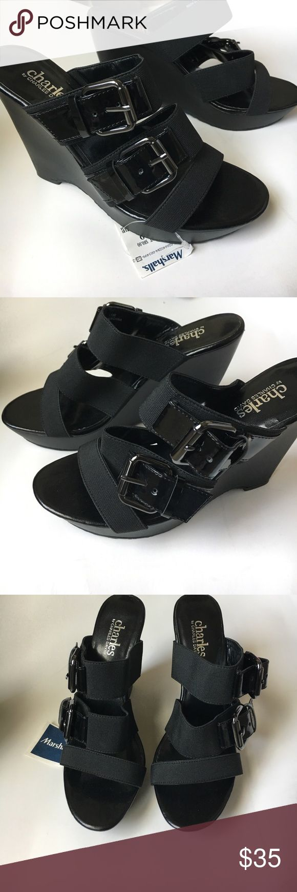 NWT Charles by Charles David wedges NWT Charles by Charles David wedges. Black strappy wedges    Buckles stretchy. Some scratches on heels. Shown in pic. Charles David Shoes Wedges