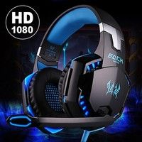 Wish   Latest Version Noise Cancelling Gaming Headset / Over Ear Game Gaming Headphone Headset Earphone Headband with Mic Stereo Bass LED Light for PC Computer Laptop Mobile Phones ( Included Y splitter cable for Notebook computers and PS4 )