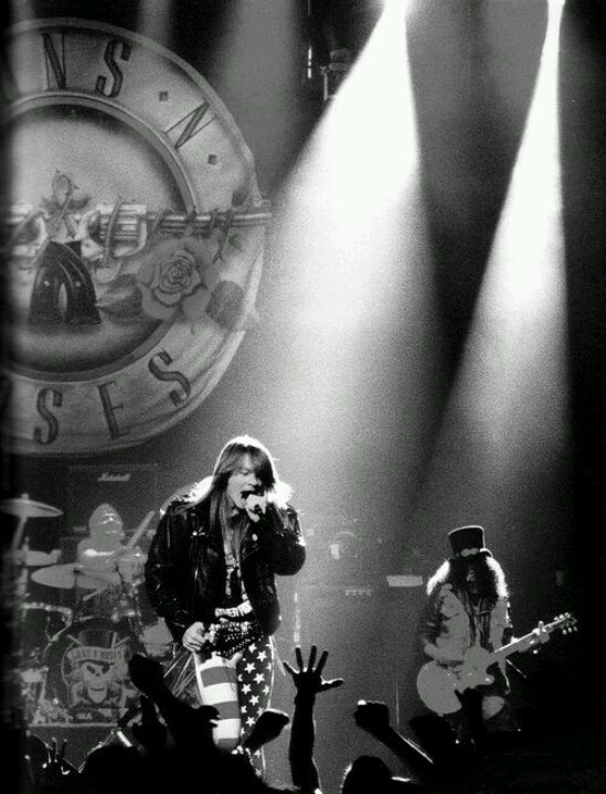Guns N' Roses.  You know you've made it when you have a huge sign behind you that is professionally created.