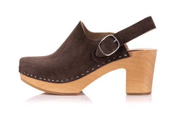 ba01aa93f0852 Brown clog sandals with strap, wooden Swedish Clogs, handmade ...