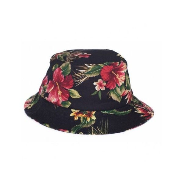 Huf Hawaiian Bucket Hat Black Blossom 2013 ($40) ❤ liked on Polyvore featuring accessories, hats, bucket hats, buckethats, bucket hat, fishing hat, huf, hawaiian print bucket hat and fisherman hat