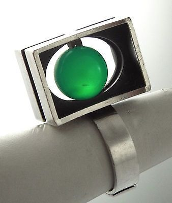 1970s-KUPITTAAN-KULTA-ELIS-KAUPPI-STERLING-SILVER-amp-JADE-MODERNIST-RING