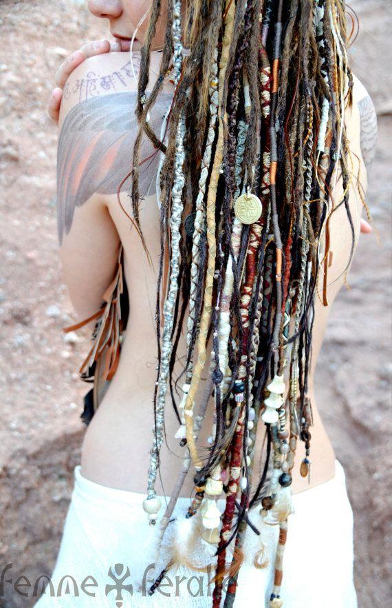 MEDICINE WOMAN • Bohemian Hair Wraps • Temporary Dreadlocks • Hippie Boho Native Tribal Hair Wraps • Leather Beaded Braids & Dread Falls