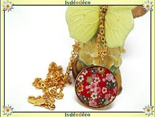 Collier Sakura Laiton Or Fin 24 Carats Fleur Cerisier Japon Rouge
