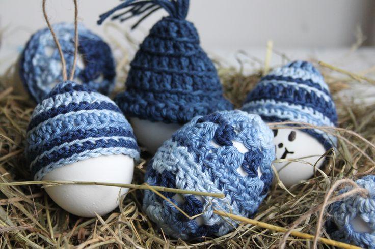 Goed gemutst en 't is een eitje. Eieren omhaken en voorzien van een mutsje, gratis patroon op het blog van Inhaken