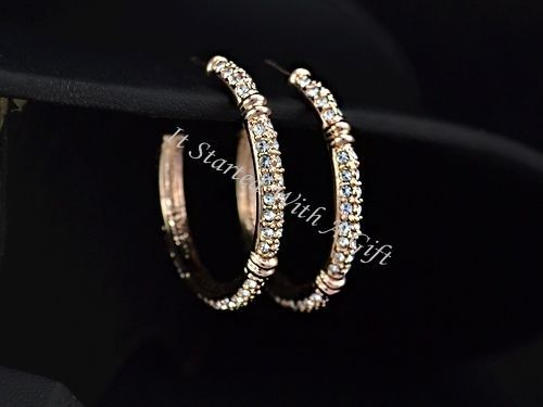 18K Rose Gold Plated CZ Crystal Inlaid Hoop Earrings