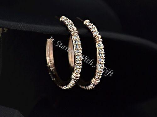 18K Rose Gold Plated CZ Crystal Inlaid Hoop Earrings
