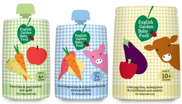 English Garden Baby Food liquid packaging spout pouch #glass #bottle #bouteille #verre #spout #pouch #sacs #plastiques #plastic #bags #emballage #souple