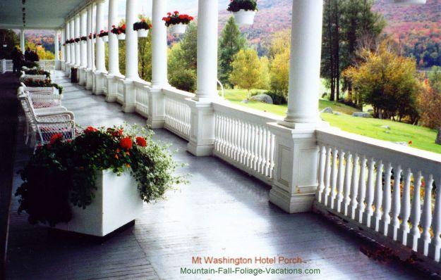 Historic Mount Washington Hotel 900 foot long Verandah (porch)  and New Hampshire White Mountains Fall Foliage View