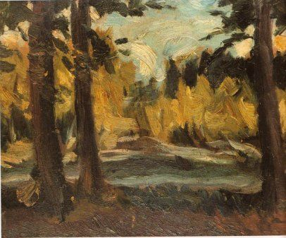 Landscape - 1918 by George Bouzianis , Expressionism