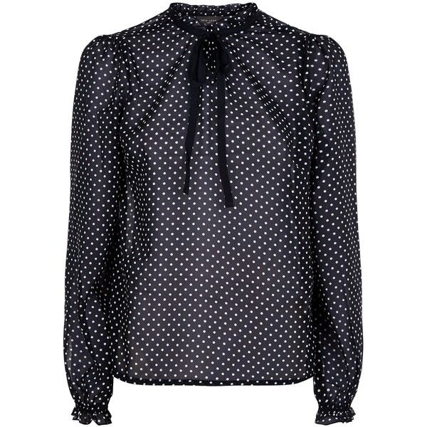 Black Polka Dot Tie Neck Blouse (220 ZAR) ❤ liked on Polyvore featuring tops, blouses, dot, neck ties, polka dot top, polka dot blouse, neck tie blouse and neck-tie