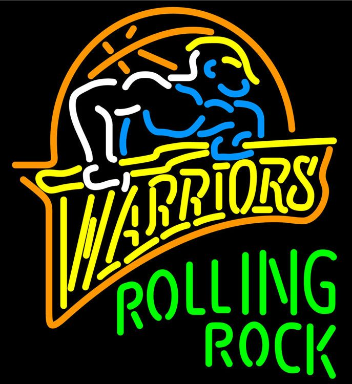 Rolling Rock Golden St Warriors NBA Neon Beer Sign, Rolling Rock with NBA Neon Signs | Beer with Sports Signs. Makes a great gift. High impact, eye catching, real glass tube neon sign. In stock. Ships in 5 days or less. Brand New Indoor Neon Sign. Neon Tube thickness is 9MM. All Neon Signs have 1 year warranty and 0% breakage guarantee.