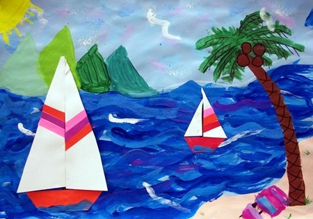 Third graders created a seascape. They learned many things such as how to plan their composition, forground, middleground and background and the center of interest in a painting. They also experimented with mixing their own colors and using various brushstrokes! They created their sailboats out of paper!