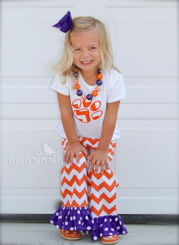 girls CLEMSON CHEVRON PANT set - chevron & polka dot ruffle pants with tiger paw appliqué top - many sizes on Etsy, $44.00