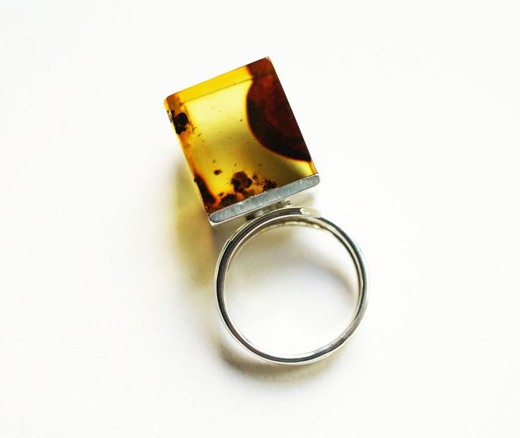 Luxury Baltic Amber Sterling Silver Ring no.001B by APPUSSTUDIOJEWELLERY on Etsy