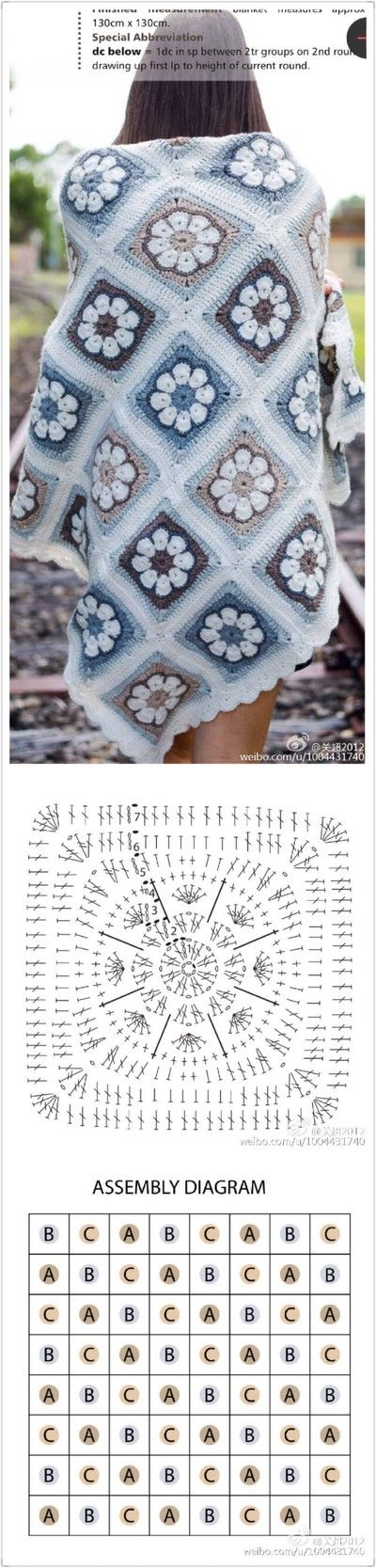 Crochet Granny square, 8-petal African Flower.
