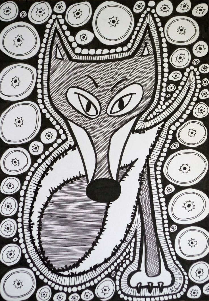 Free Coloring Page Difficult Fox Black White Drawing Of A Composed Many Elements And Shapes Color It By Choosing Colors Representing