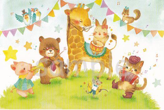 【楽天市場】★物語の1ページを描いたような素敵なポストカード★【森の音楽隊】:SAN AI HANDMADE