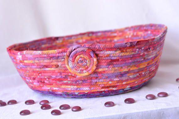 Raspberry Fiber Basket Handmade Coiled Fabric by WexfordTreasures