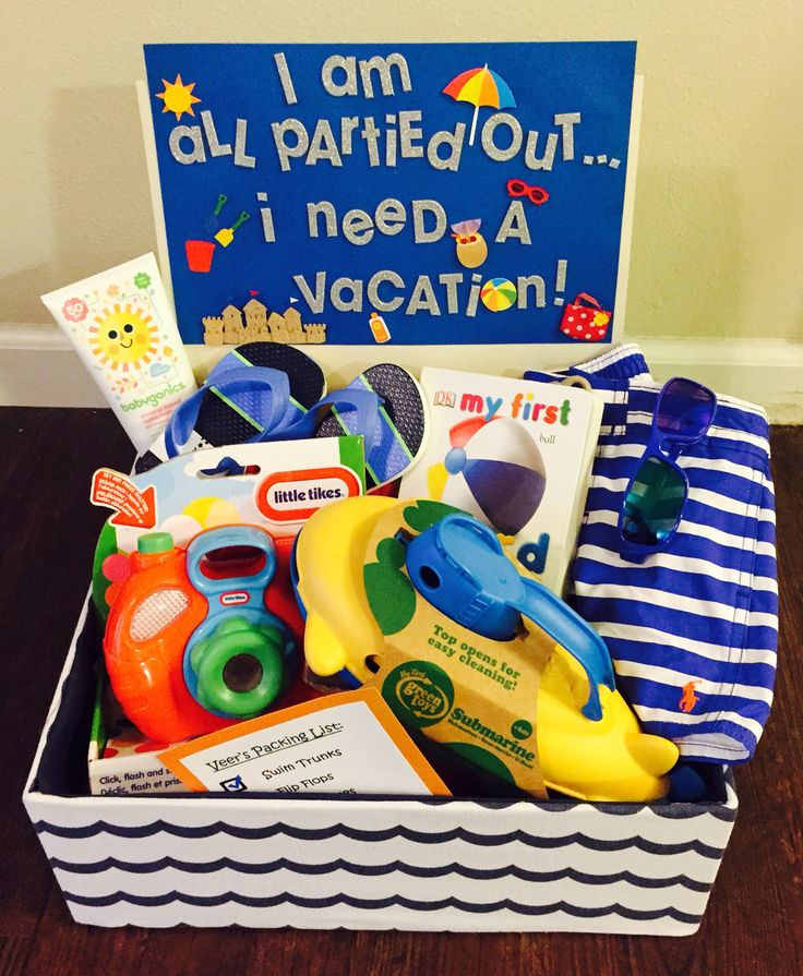 """Gift Idea for One-Year Old Baby Boy!  """"I Am All Partied Out...I Need A Vacation"""" gift  basket.  Include items for a beach vacation and Travel """"Check List"""" -  Swim Trunks, Flip Flops, Sunglasses, Sunscreen, Toy Camera, Books, Toy Boat"""