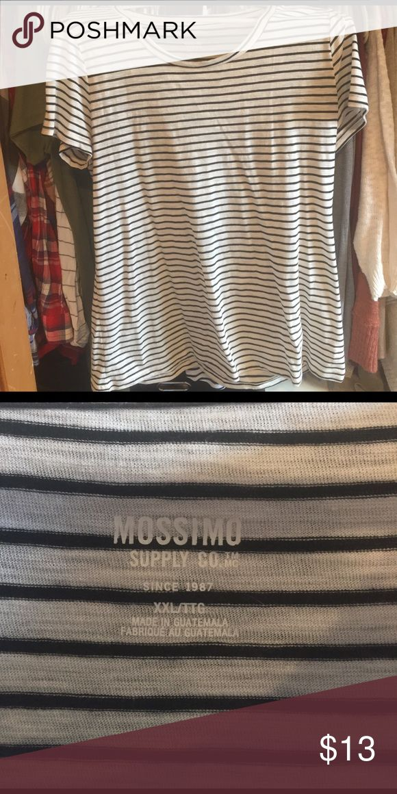 Black and white striped T-shirt XXL Black and Black and white striped T-shirt scoop neck short sleeve XXL Massimo supply Co. purchase at target never worn without tags Mossimo Supply Co Tops Tees - Short Sleeve
