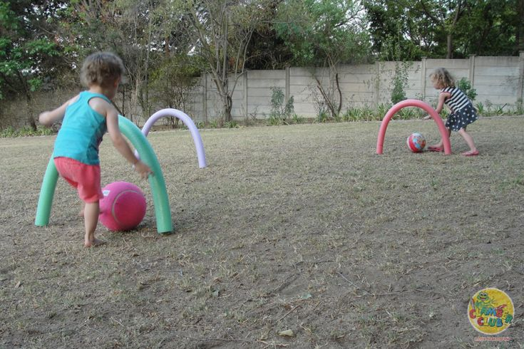 Play giant croquet with your children using pool noodles! This is great for promoting spatial awareness, eye-hand and eye-foot coordination.