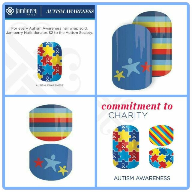 Jamberry's Commitment to Charity Autism Awareness nail wraps. Order your wraps at www.jamberryjena.com