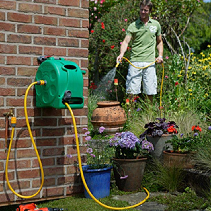 Hozelock Avvolgitubo con 25 m di tubo per l'irrigazione del giardino - Giardino, piscina