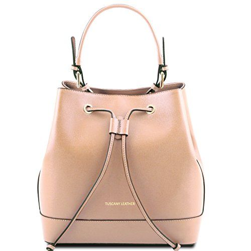 Tuscany Leather Minerva - Saffiano leather secchiello bag Beige Leather handbags